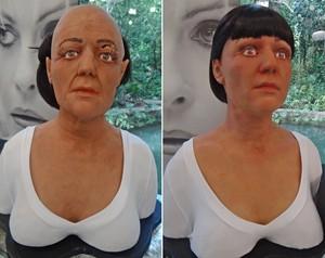 Bonecos com máscaras de silicone simulam o antes e depois de um lifting (Foto: Mais Você / TV Globo)