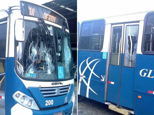 Segundo a empresa, pedras foram arremessadas na direção dos motoristas e cobradores na saída do Terminal do Alto José Bonifácio. Prejuízo foi de R$ 10 mil. (Foto: Reprodução / WhatsApp)