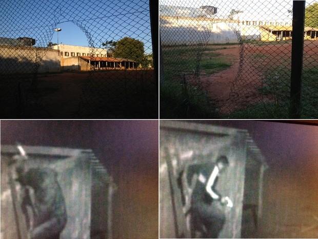 Imagens mostram buracos na tela do IPV e presos saindo do presídio por uma escada (Foto: Fábio Almeida e Reprodução/RBSTV)