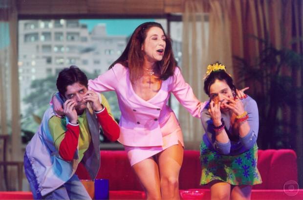 Luiz Carlos Tourinho, Marisa Orth e Cláudia Rodrigues em Sai de Baixo (Foto: CEDOC)