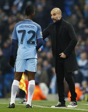 Iheanacho - Pep Guardiola (Foto: Reuters / Phil Noble)