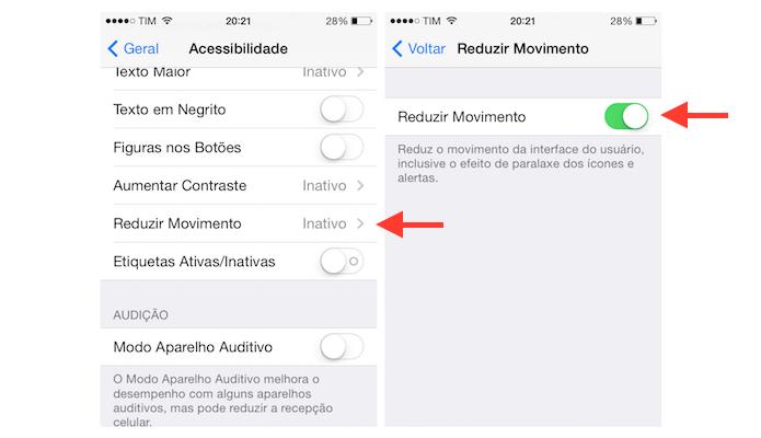Desativando o efeito paralaxe do iOS 7 no iPhone 4 (Foto: Reprodução/Marvin Costa)