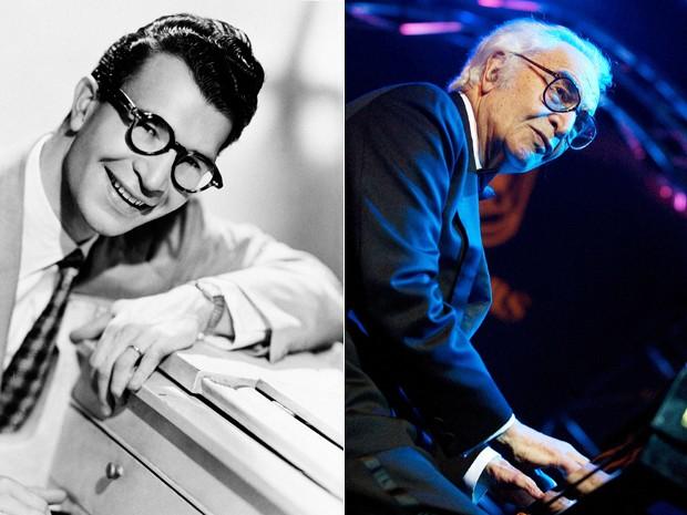 Dave Brubeck em 1956 e em 2002 (Foto: AP)