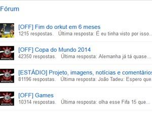 Na comunidade do Corinthians no Orkut, usuários comentam fim da rede e a Copa do Mundo (Foto: Reprodução / Orkut)