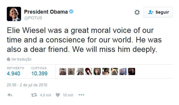 Presidente dos Estados Unidos comentou a morte de Wiesel no Twitter (Foto: Reprodução/Twitter)