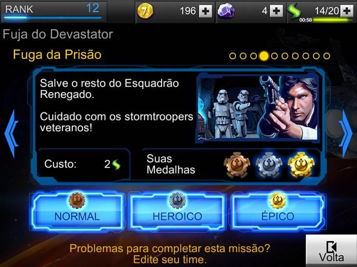 Todas os cenários da campanha e das missões especiais de Star Wars: Assault Team possuem três níveis de dificuldade (Foto: Reprodução/Daniel Ribeiro)