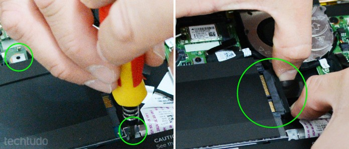 Encaixe o suporte com o SSD no notebook e conecte do cabo de dados e energia (Foto: Adriano Hamaguchi/TechTudo)