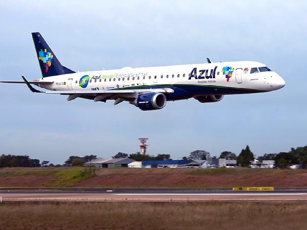 Avião pousa no aeroporto de Viracopos em Campinas (Foto: Gianfranco Panda Beting / Divulgação Azul)