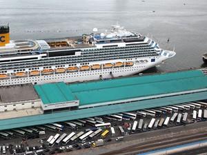 Imagem aérea do Concais durante temporada de cruzeiros marítimos (Foto: Divlugação/Concais)