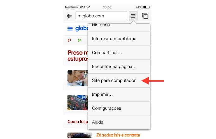 Acessando a versão desktop de um site no Chrome para Android (Foto: Reprodução/Marvin Costa)