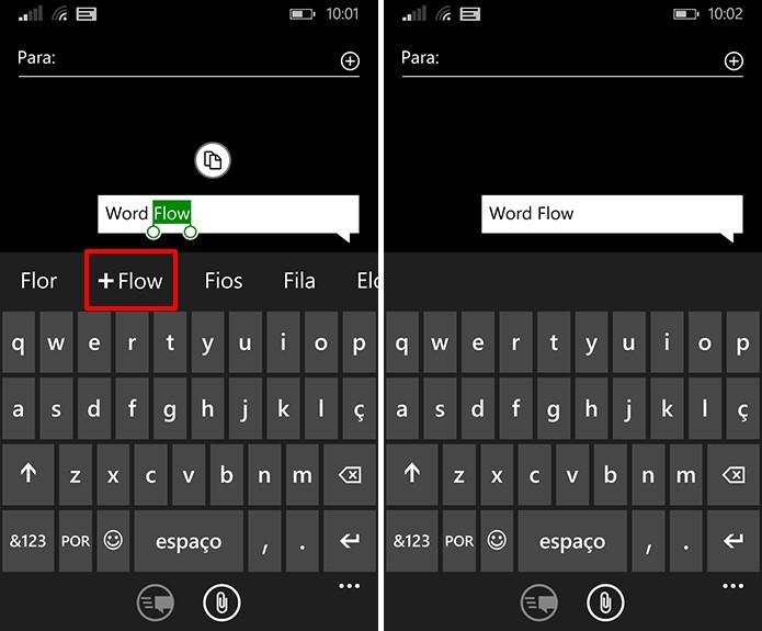 Windows Phone pode ter palavras adicionadas ao dicionário a partir do símbolo de + (Foto: Reprodução/Elson de Souza)
