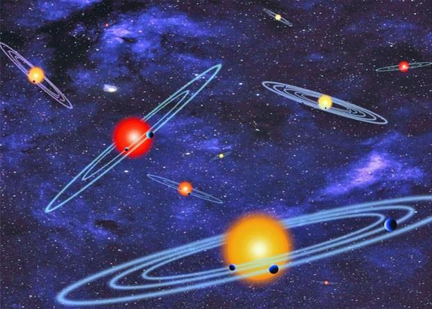 Ilustração da Nasa mostra sistemas com múltiplos planetas que eclipsam as estrelas que circundam, dependendo do ponto de observação (Foto: Nasa)