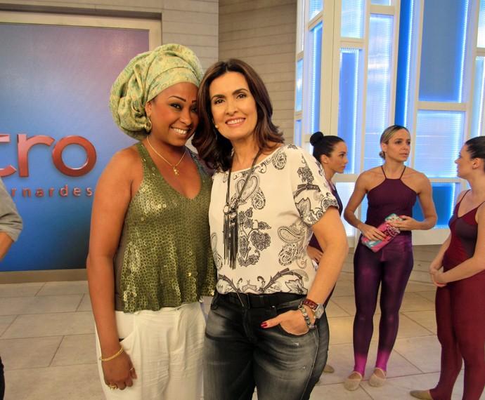 Convidada Andrezza com a Fátima  (Foto: Carolina Morgado/Gshow)