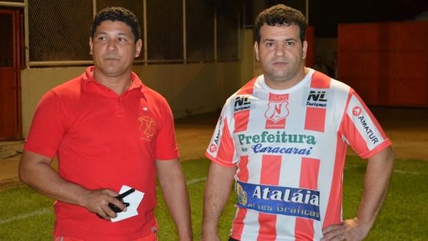 O treinador Serginho Góis com o presidente do Náutico, Androir Bassorici   (Foto: Rodrigo Litaiff)