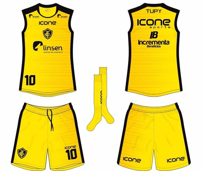 Novo uniforme de treinos do Tupy-ES, na cor amarela com detalhes em preto (Foto: Divulgação/Tupy-ES)
