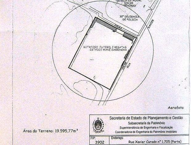 Planta Seplag do terreno do CT do Botafogo (Foto: Reprodução)