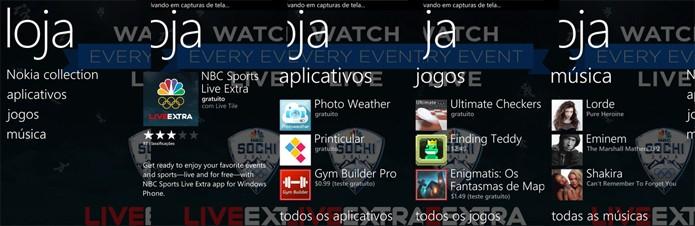Loja de aplicativos para Windows Phone dos Estados Unidos possui maior variedade do que a brasileira (Foto: Reprodução/Elson de Souza)