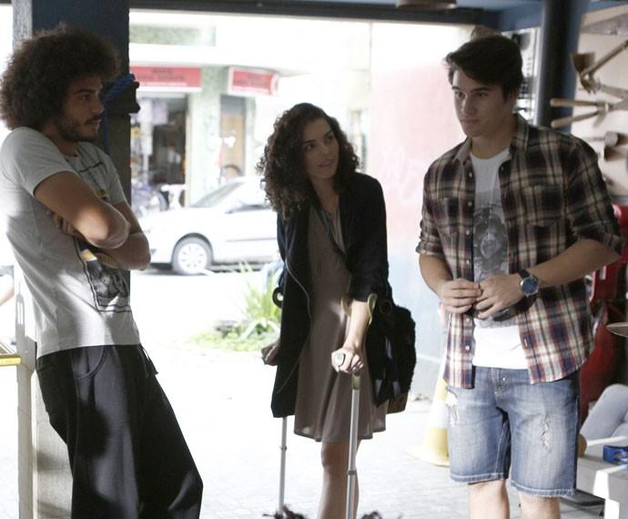 Pedro não tá muito a fim de ter Rodrigo como produtor... (Foto: Inacio Moraes/Gshow)