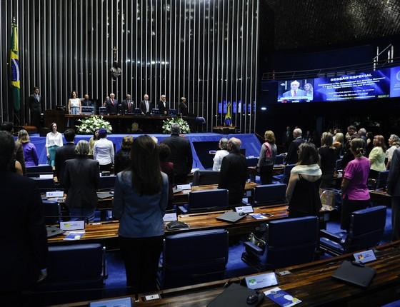 Plenário do Senado Federal durante sessão especial destinada a comemorar o Dia Internacional dos Direitos Humanos e a entrega da Comenda de Direitos Humanos Dom Hélder Câmara, em sua 7ª edição. (Foto: Marcos Oliveira/Agência Senado)