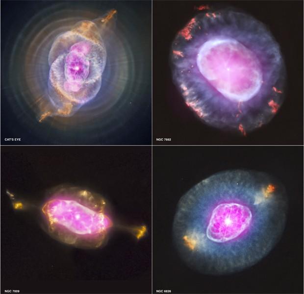 Imagens mostram quatro nebulosas planetárias observadas pela Nasa (Foto: Divulgação/Nasa/CXC/RIT/J.Kastner/STScI)