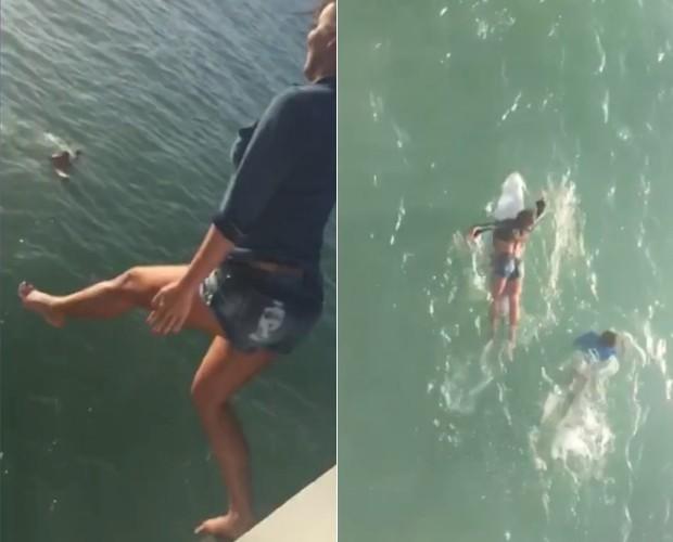 Carol Nakamura cai na água de roupa (Foto: Arquivo Pessoal)