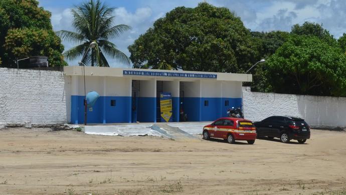 Fachada do Estádio Teixeirão, em Santa Rita, Paraíba (Foto: Larissa Keren / GloboEsporte.com/pb)