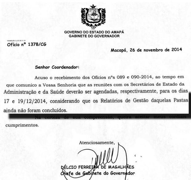 Oficio foi assinado pelo chefe de gabinete (Foto: Reprodução)