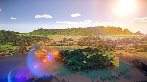 Vista da costa californiana, nos EUA, recriada dentro de 'Minecraft' (Foto: Reprodução/PC Gamer)