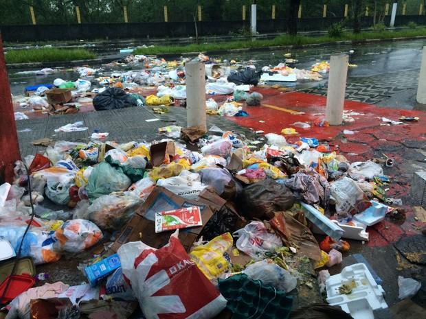 Lixo bloqueia via em Cubatão (Foto: Solange Freitas/G1)
