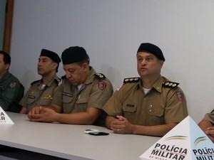 Coletiva balanço de crimes da Polícia Militar de Uberlândia (Foto: Caroline Aleixo/G1)
