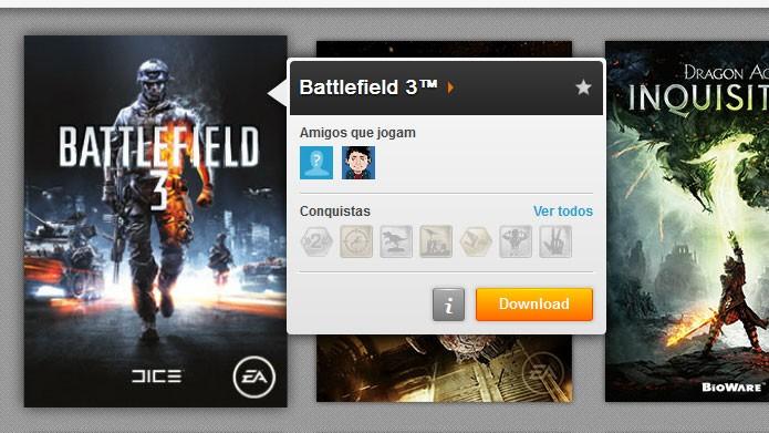 Na aba Meus Jogos, clique em Download para baixar e instalar Battlefield 3 (Foto: Reprodução/Tais Carvalho)