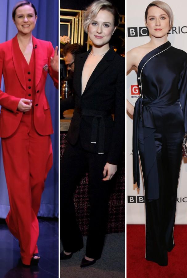 Evan Rachel Wood de smoking em outras premiações (Foto: Getty Images)