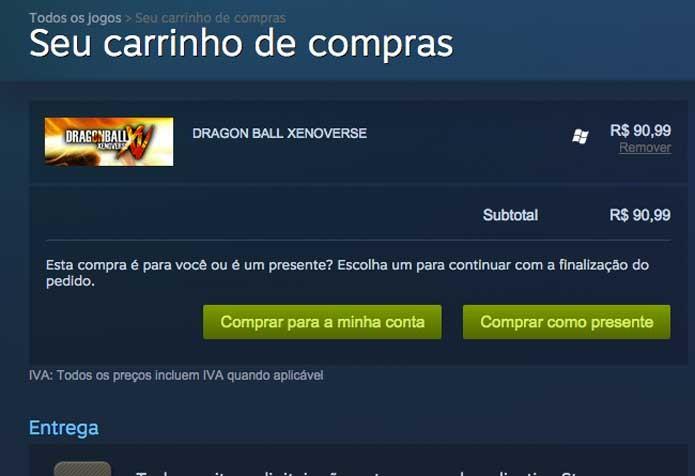Avance pelo carrinho e complete a compra de Dragon Ball Xenoverse (Foto: Reprodução/Felipe Vinha)