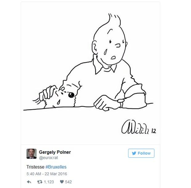 Internautas mostram Tintin 'chorando' após atentados na Bélgica (Foto: Reprodução / Twitter)