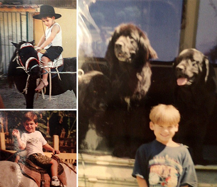 Nicolas Prattes é apaixonado por animais há muito tempo. À direita, o trio de cães dos avós (Foto: Arquivo Pessoal)