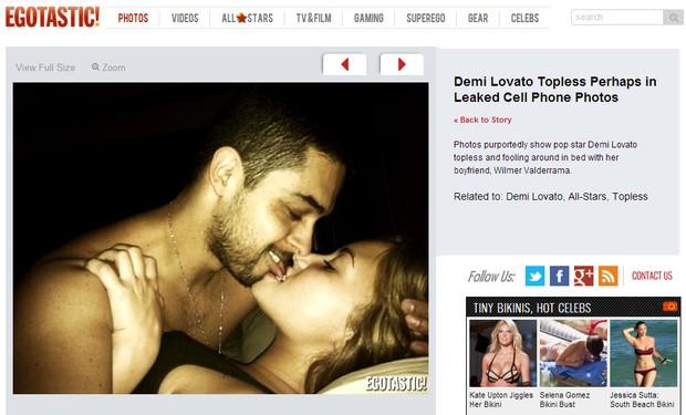 Demi Lovato e Wilmer Valderrama em fotos que seriam do celular da cantora (Foto: Reprodução/Egotastic)