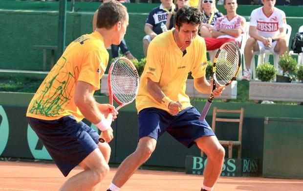 Tenista Marcelo Melo e Bruno Soares, Copa DAvis (Foto: Célio Messias / Agência Estado)