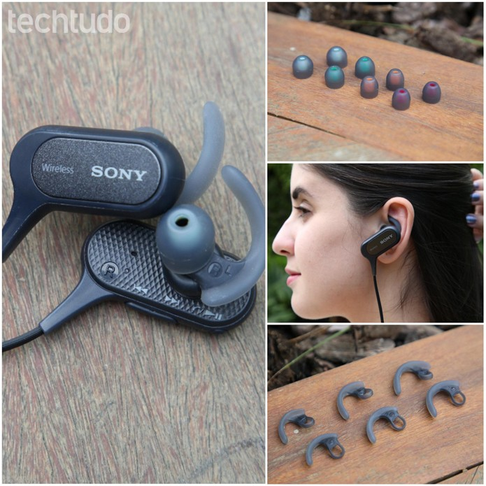 Acessórios que companham o fone de ouvido da Sony (Foto: Gabrielle Lancellotti/TechTudo)