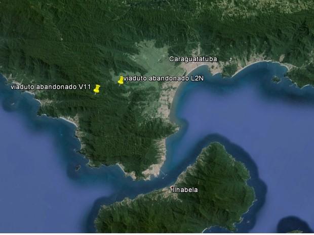 Mapa mostra localização dos viadutos abandonados próximo a São Sebastião (Foto: Reprodução/Google Earth)