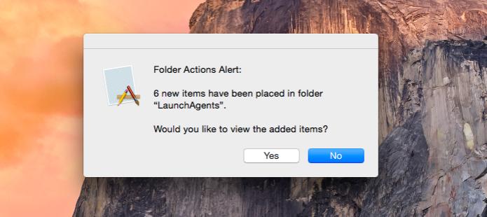 Alerta Mac OS X configurado no sistema para pastas importantes (Foto: Reprodução/Helito Bijora)