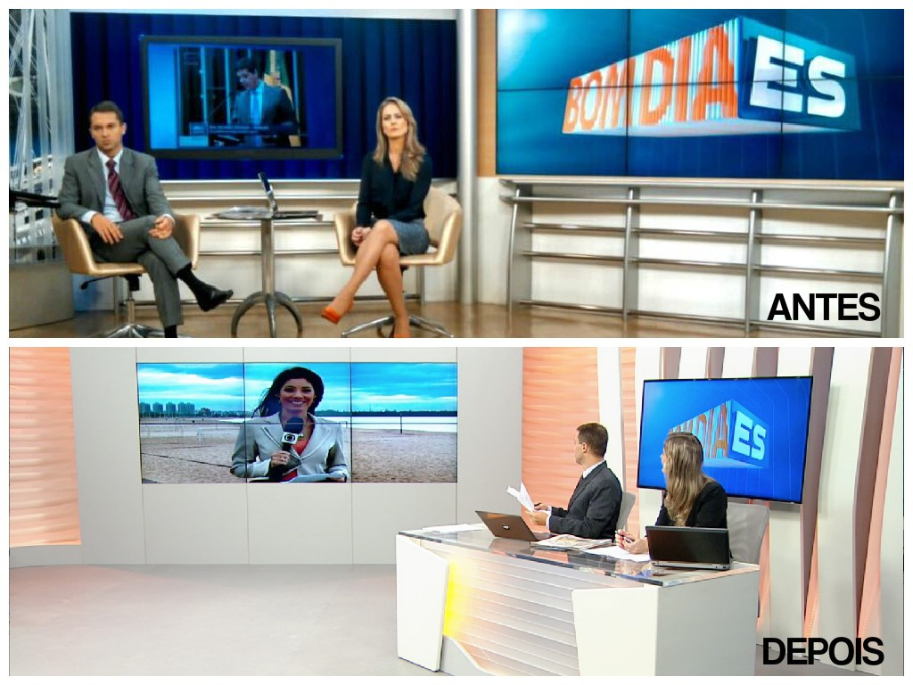 O antes e depois do Estúdio do Bom Dia ES (Foto: Divulgação/ TV Gazeta)