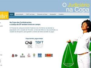 Reprodução da página do TJDFT com informações sobre serviços judiciais durante a Copa das Confederações (Foto: Reprodução)