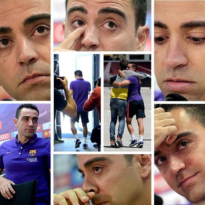 MONTAGEM - Xavi Hernandez Barcelona despedida (Foto: Editoria de Arte)