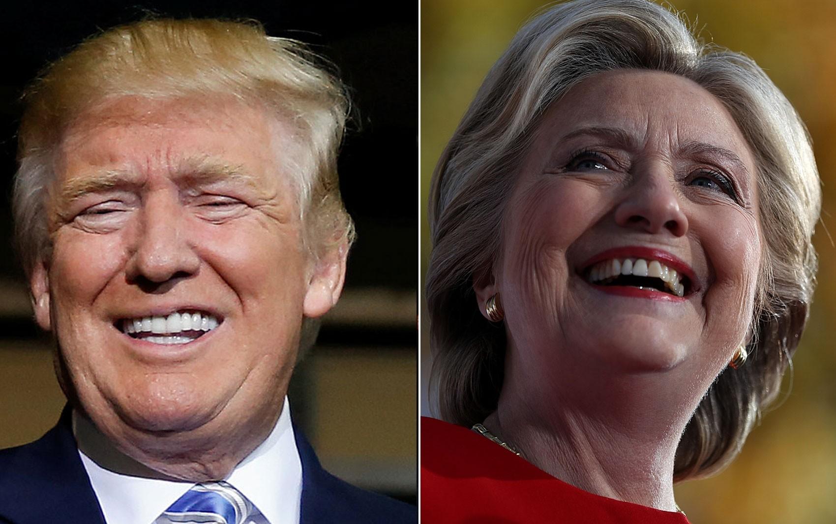 Donald Trump em Saratosa, na Flórida, e Hillary Clinton em Pittsburgh, na Pensilvânia, sorriem durante comícios no último dia da campanha presidencial, na segunda (7) (Foto: Reuters/Carlo Allegri/ Justin Sullivan/Getty Images/AFP)