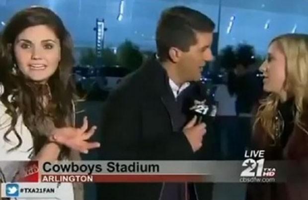 Repórter Jeff Jamison foi interrompido por duas garotas bêbadas (Foto: Reprodução)
