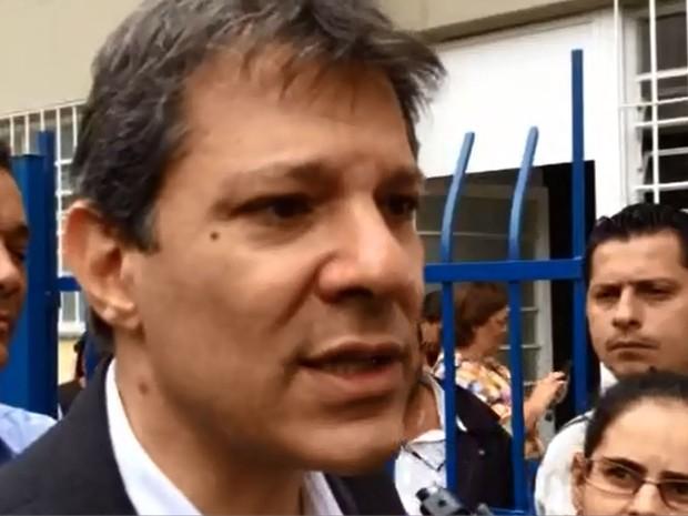 O prefeito Fernando Haddad nesta terça-feira (1º), em São Paulo (Foto: Tatiana Santiago/G1)