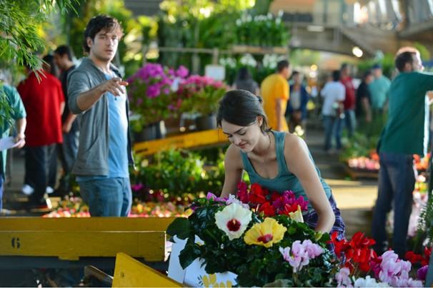 Bento (Marcos Pigossi) observa Giane (Isabelle Drummond) ajeitando flores em gravação de cena da novela Sangue Bom, na Ceagesp, em São Paulo (Foto: Zé Paulo Cardeal/Rede Globo)