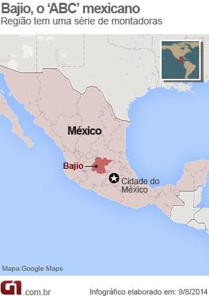 Região de Baijo, no México (Foto: Arte/G1)