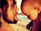 Paloma Duarte se derrete por clique fofo de Bruno Ferrari com o filho
