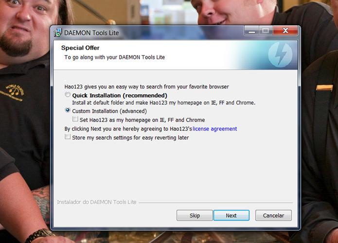 Desmarque a opção que torna o Hao123 sua página principal dos navegadores instalados no seu sistema